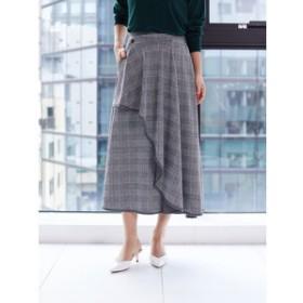 【Green Parks:スカート】・LHELBIE グレンチェックラッフルスカート