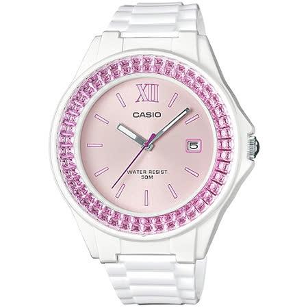 CASIO 閃耀華麗的挑戰時尚腕錶(白x粉紅框)_LX-500H-4E
