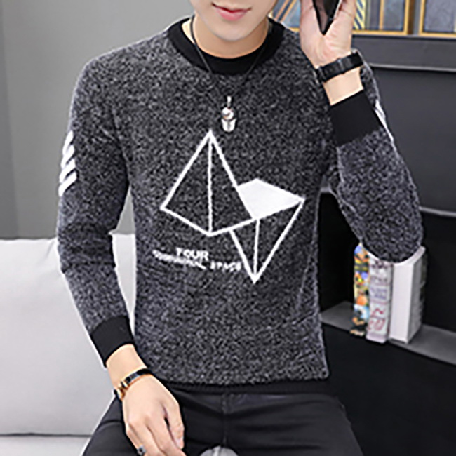 FOFU-針織衫韓版休閒方塊圖案圓領針織衫【08B-B2006】