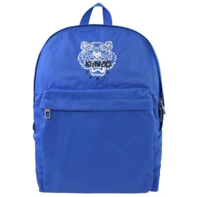KENZO 素面尼龍經典老虎圖案LOGO拉鍊後背包(藍)