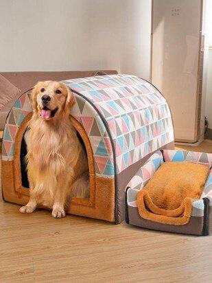 狗窩大型犬房子型冬天保暖寵物可拆洗沙發床金毛狗狗狗屋四季通用 【伊卡萊生活館】  聖誕節禮物
