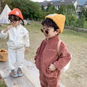 子供セット2019冬新品韓国版の子供用刺刺刺繍フレネルセットの子供用ファスナールームウェア