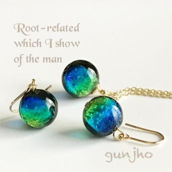 冬 沖縄ケラマブルー ★ホタルガラスのシンプルひと粒ネックレスとピアスのセット