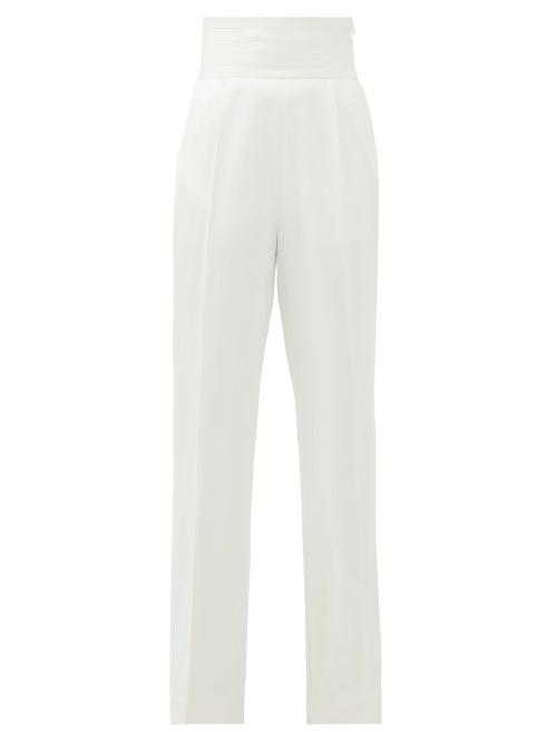 Khaite - Blaine Cummerbund-waist Trousers - Womens - Ivory