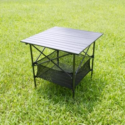 黑金鋼蛋捲桌附網袋.戶外休閒鋁合金大理石防刮高強度耐重野營料理折摺疊野餐桌露營桌