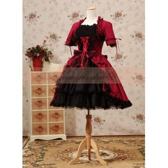DORA⊕BRS紫ゴシックロリータドレススクエアネックフレアロングスリーブドレスで弓とフリル