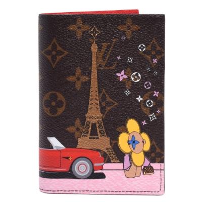LV M68493經典Monogram帆布艾菲爾鐵塔旁兜風印花護照夾