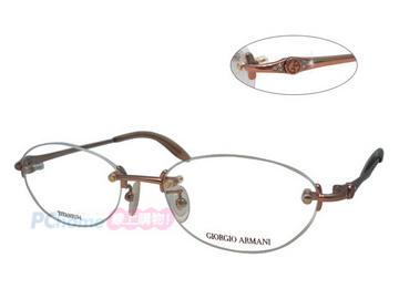 Giorgio Armani 亞曼尼 日本製 純鈦 典雅水鑽無框設計 GA2553J 粉金