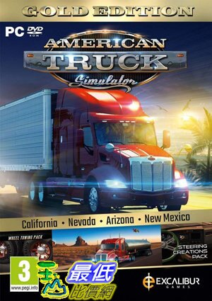 [7美國直購] 2018 amazon 亞馬遜暢銷軟體 American Truck Simulator Gold (New Mexico DLC/Wheel Turning/Steering Cre