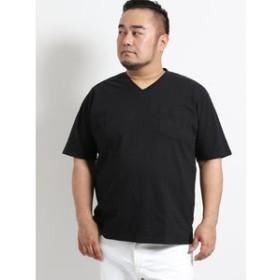 【GRAND-BACK:トップス】【大きいサイズ】グランバック/GRAND-BACK ニットサッカーVネック半袖Tシャツ