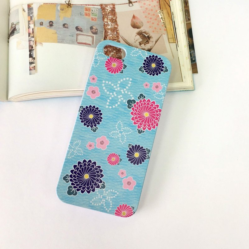 香港原創設計 日本粉藍色和服花紋圖案 iPhone 7, iPhone 7 Plus, iphone 6/6S , iphone 6/6S PLUS, Samsung Galaxy Note 7 透明