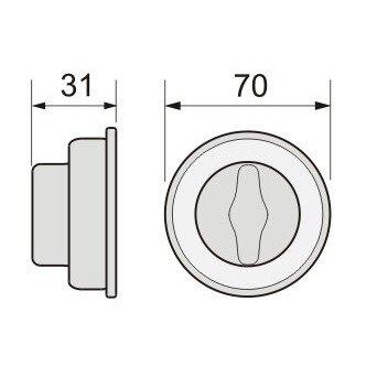 花旗暗閂 W210-1 仿白鐵暗閂 鎖心60mm 門厚38~42mm