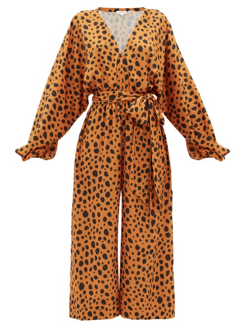 Rhode - Blake Leopard-print Satin Jumpsuit - Womens - Leopard