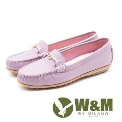 W&M經典款 真皮莫卡辛豆豆鞋 女鞋-粉紫(另有黑)