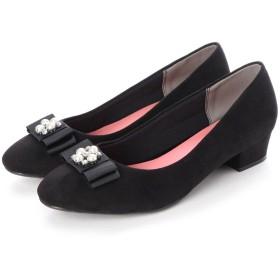 マシュガール masyugirl 4E/幅広ゆったり・大きいサイズの靴 ビジュー付きリボンのスクエアトゥパンプス (ブラック)