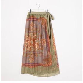 【NOLLEY'S:スカート】ラメストライプ楊柳ヴィンテージスカーフプリントラップマキシスカート