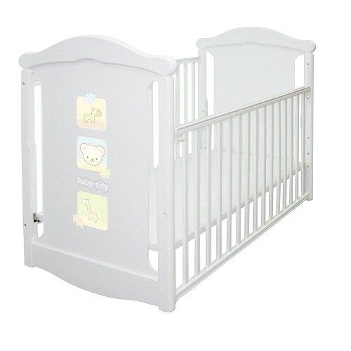 Baby City 動物熊搖擺中大床(白色)+床墊+7件寢具組)★愛兒麗婦幼用品★