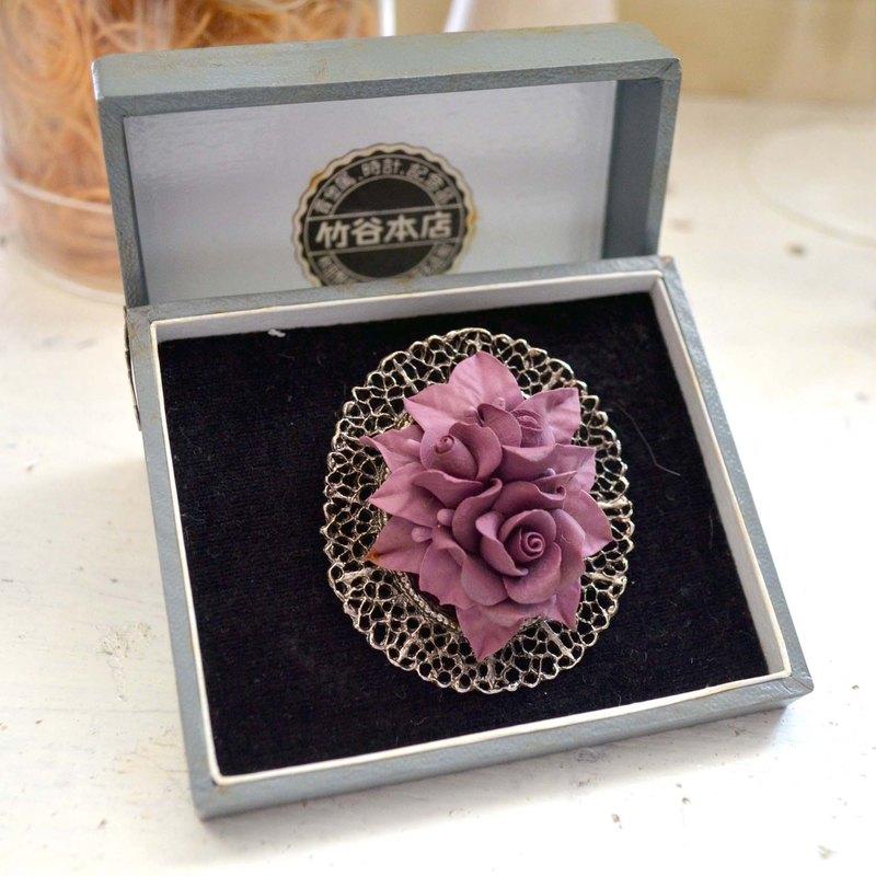 復古紫色手工黏土花純銀底座胸針 高貴優雅 日本二手古著珠寶首飾