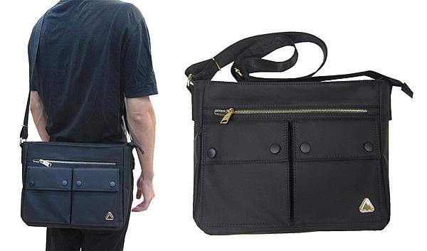 ~雪黛屋~SPYWALK 側背包大容量可A4紙10吋電腦主袋+外袋共五層防水尼龍布材質上學上班SD1679