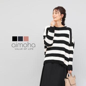 ニット・セーター - aimoha ラメボーダーニット ニット レディース 長袖 セーター トップス ボーダー ドルマン 体形カバー ゆったり オーバーサイズ 大きいサイズ 大人 かわいい 上品 ラメ