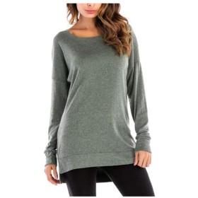 女性の長袖シャツラウンドネックスプリット下シャツ緩いシャツTシャツ SLhouse (Color : 05, Size : XL)