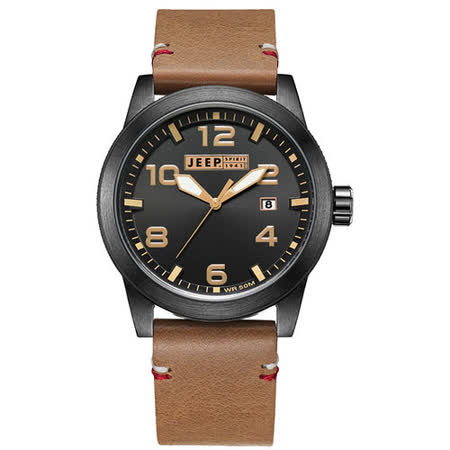 JEEP SPIRIT 自然率性休閒皮帶錶-黑x淺咖啡色