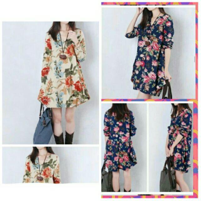 ♡ Q醬 ♡(出清價)韓版 女 長袖 棉麻 洋裝 連衣裙
