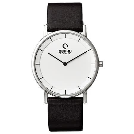 OBAKU 復刻極簡大面板時尚腕錶-白X咖啡