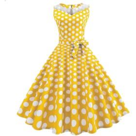 女性のパーティードレスヴィンテージ印刷ノースリーブイブニングパーティープロムはベルトドレスのスカートのドレスをスイング,イエロー,2XL