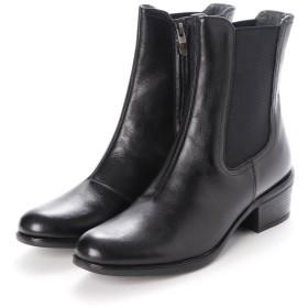 イタリコ ITALICO 柔らかレザー サイドゴア ローヒールショートブーツ (ブラック)