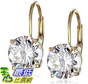 [美國直購] Platinum or 14k Gold Plated Sterling Silver Round-Cut Cubic Zirconia Leverback Earrings (3 ct