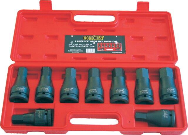 """*韋恩工具* 澳洲工業品牌 KC 3/4"""" 6分 9件 氣動 套筒組 六角凸套筒 起子套筒  英制 KC-116520 *韋恩工具* 澳洲工業品牌 KC 3/4"""" 6分 9件 氣動 套筒組 六角凸套筒"""