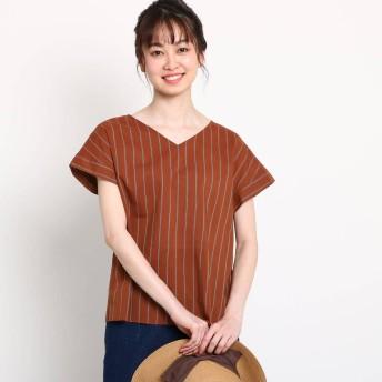 デッサン Dessin 【洗える】綿レーヨンストライプシャツ (ダークブラウン)