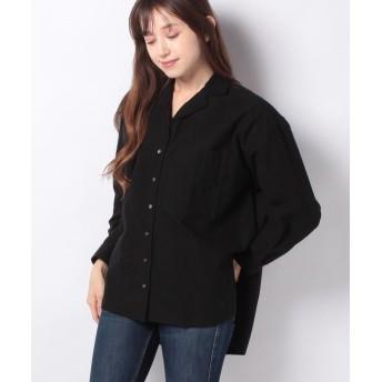 【53%OFF】 マーコート open collar wide shirt レディース BLACK f 【MARcourt】 【セール開催中】