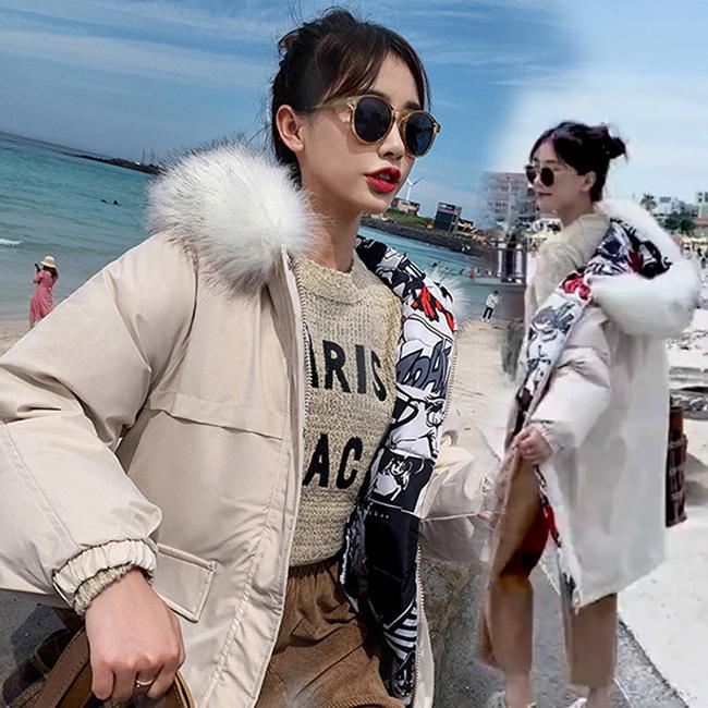 FOFU-鋪棉外套時尚韓版保暖內裏印花兩面穿鋪棉外套【08G-F0957】