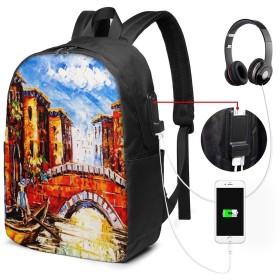 バックパック USB ポート搭載 17インチPC対応 オイルベニス 大容量ビジネスリュック 通勤 通学 出張 旅行 メンズ レディース