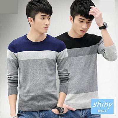 【Y028】shiny藍格子-秀氣帥性.男韓版修身加厚圓領長袖針織上衣