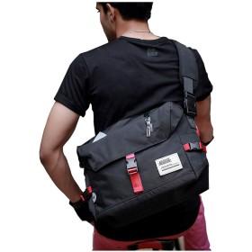 メンズ メッセンジャー バッグ 大容量 防水仕様 通気性 メッセンジャーバッグ ナイロン ショルダーバッグ 斜め掛けバッグ フラップ クロスボディバッグ 通学 旅行 通勤 自転車-ブラック