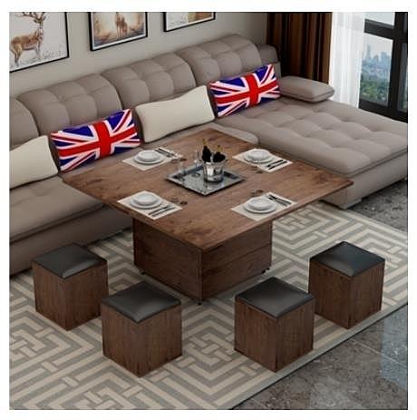 多功能茶几 茶幾餐桌兩用折疊伸縮變儲物簡約創意北歐多功能升降小戶型茶幾 DF 艾維朵