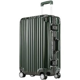 【タノビ】 TANOBI スーツケース 超軽量 キャリーバッグ キャリーケース 旅行箱 S型国内・国際線機内持込可ファスナータイプ 【一年安心保証】 3サイズ6色 (S, 縦縞-ブラックグリーン)