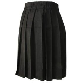 mesvcos 日系 学院風 女子高生 プリーツ スカート ハイウェスト ひざ丈 黒 無地 可愛い フリフリ 制服スカート XL