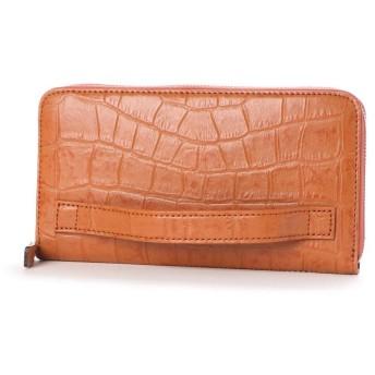 オレンジ (全8色) 日本製 クロコ型押し 牛革 国産 レザー ウォレット クラッチ 手持ち財布