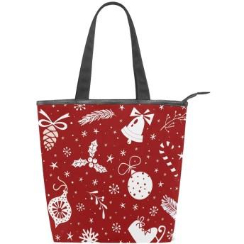 かわいい トートバッグ 学生 ハンドバッグ 手提げ キャンバス 肩掛けバッグ レディース 軽量 クリスマス 赤 星柄 雪柄 布 通勤 通学 おしゃれ