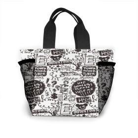 落書き トートバッグ おしゃれ レディース バッグ 買い物バッグ ランチバッグ エコバッグ ハンドバッグ
