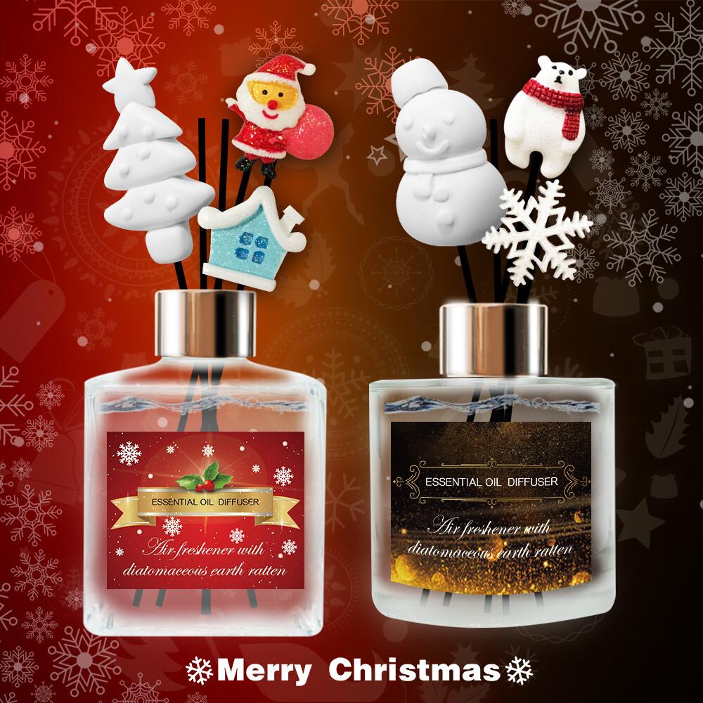 qi 新圖案 冬季聖誕限定法國精油珪藻土擴香瓶 200ml (買4贈一瓶速香聖誕噴霧)