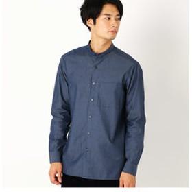 【COMME CA ISM:トップス】シャンブレーシャツ (バンドカラー)