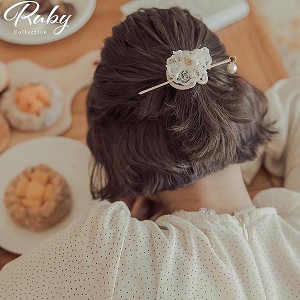 髮飾 韓國直送‧蕾絲蝴蝶餅乾髮簪-Ruby s 露比午茶