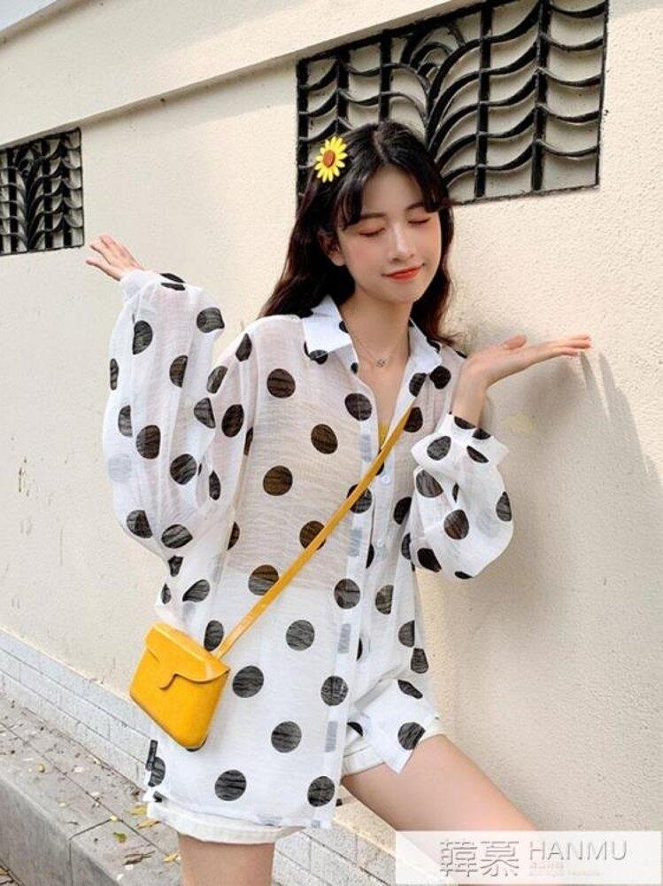夏季2019新款韓版網紅薄款雪紡襯衫長袖防曬開衫上衣設計感小眾女 韓慕精品