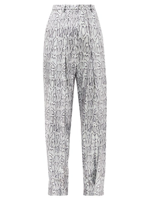 Christopher Kane - Python-print Sequinned Faux-leather Trousers - Womens - Silver