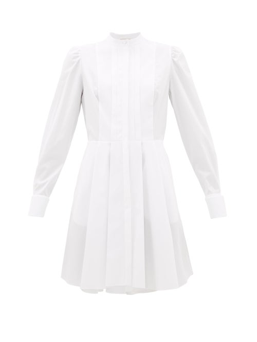 Alexander Mcqueen - Pleated Cotton-poplin Shirt Dress - Womens - White